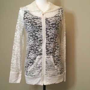 Tops - Stretch lace hoodie. Size small
